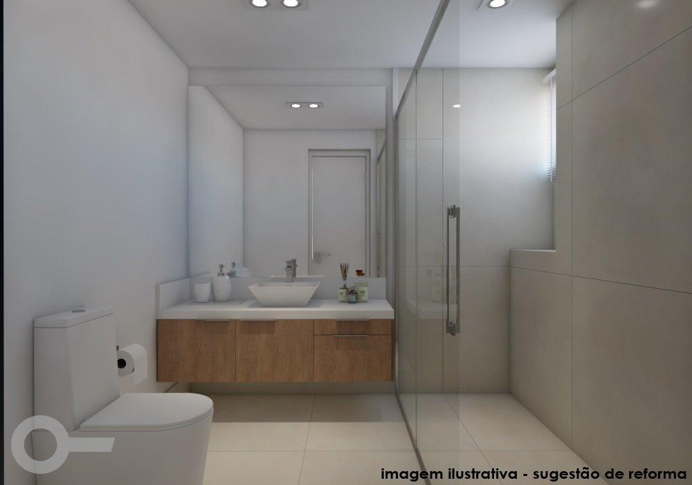 Foto de Banheiro com escova de dente, pia, garrafa