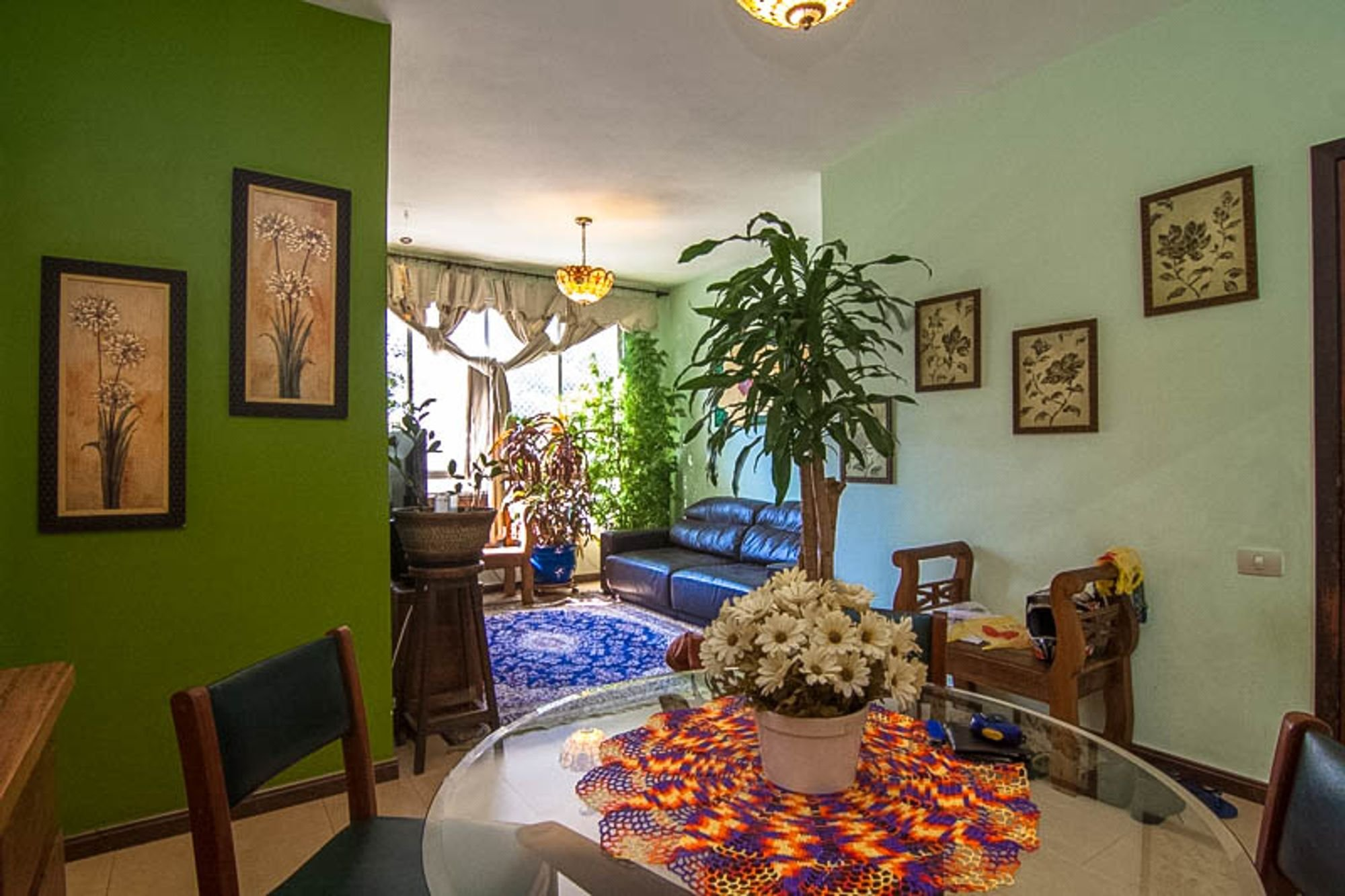 Foto de Sala com vaso de planta, sofá, vaso, cadeira, mesa de jantar