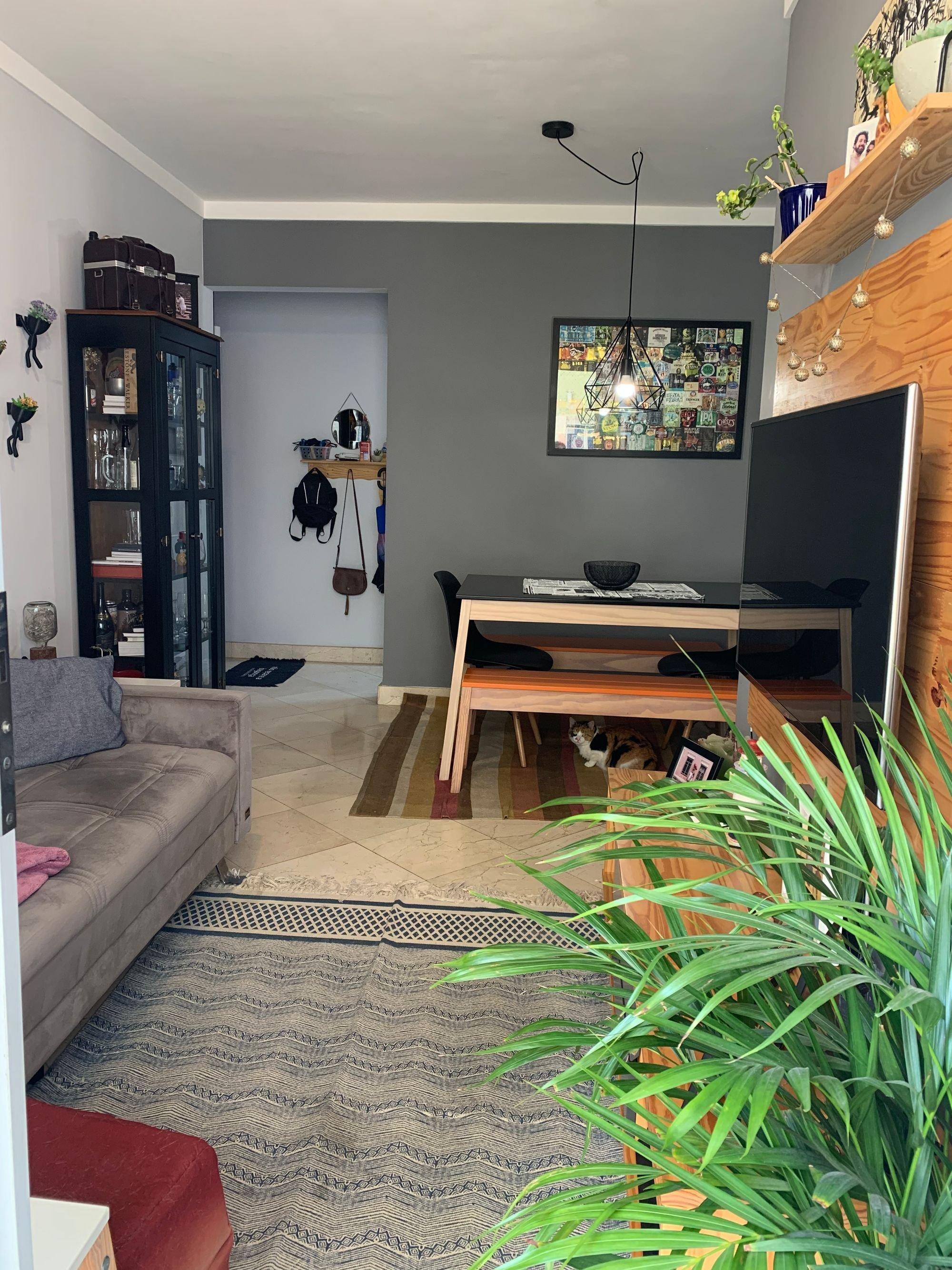Foto de Sala com vaso de planta, sofá, televisão, garrafa, tigela, mesa de jantar