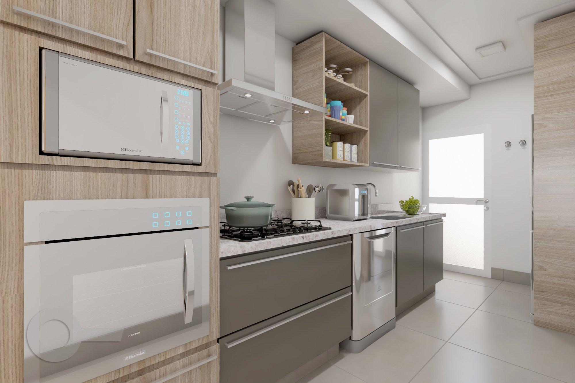 Foto de Cozinha com colher, garrafa, forno, microondas