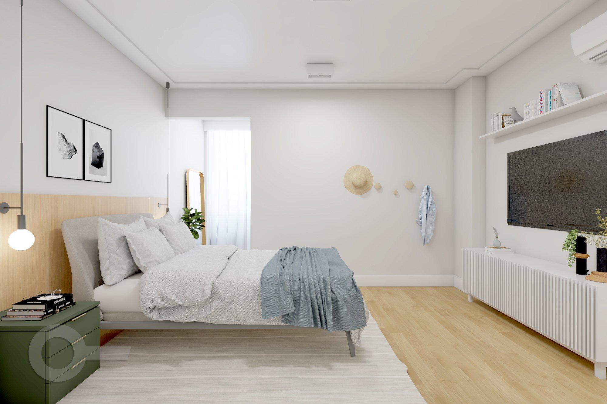 Foto de Sala com cama, vaso de planta, garrafa, livro