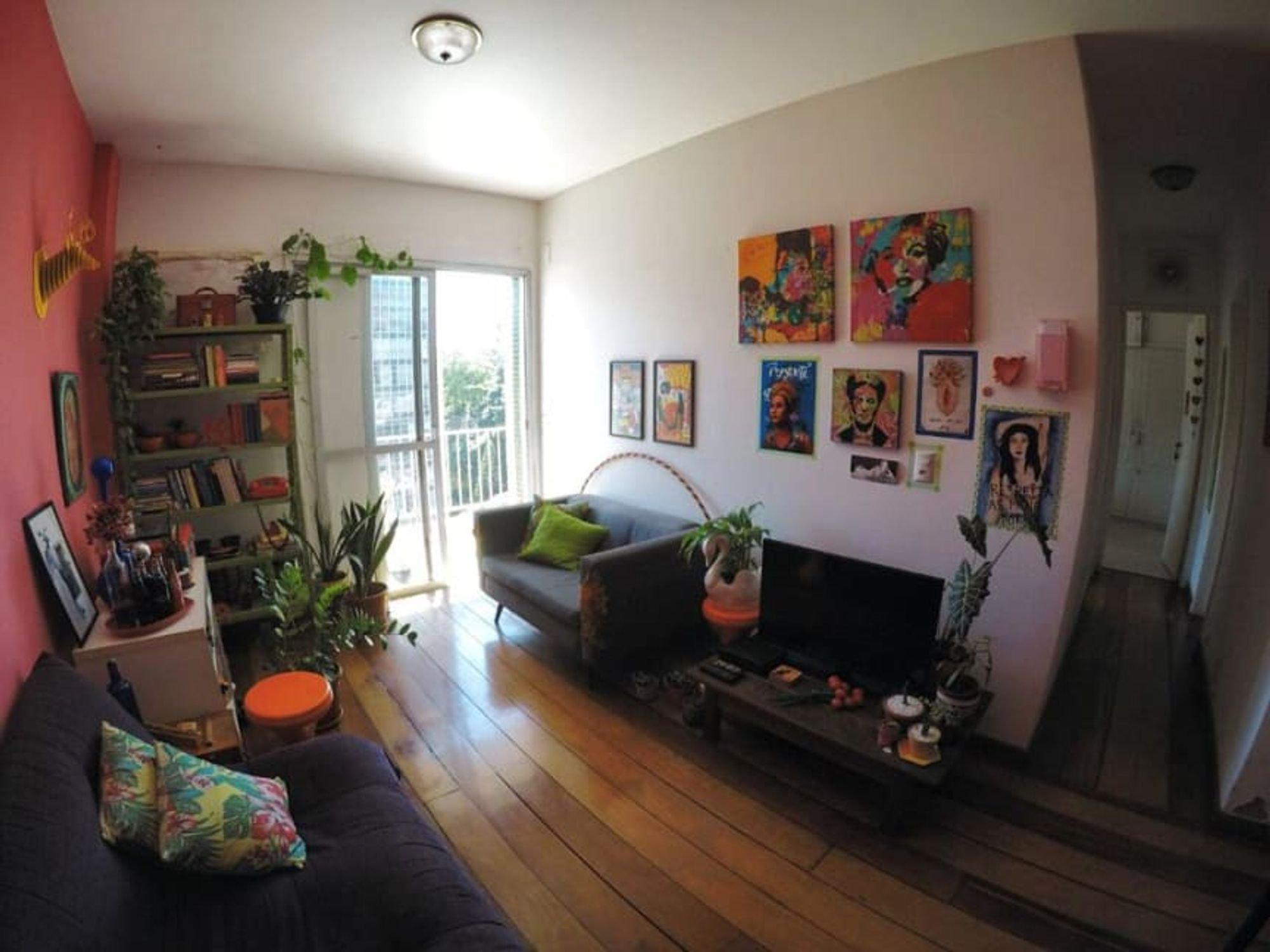 Foto de Sala com vaso de planta, sofá, livro