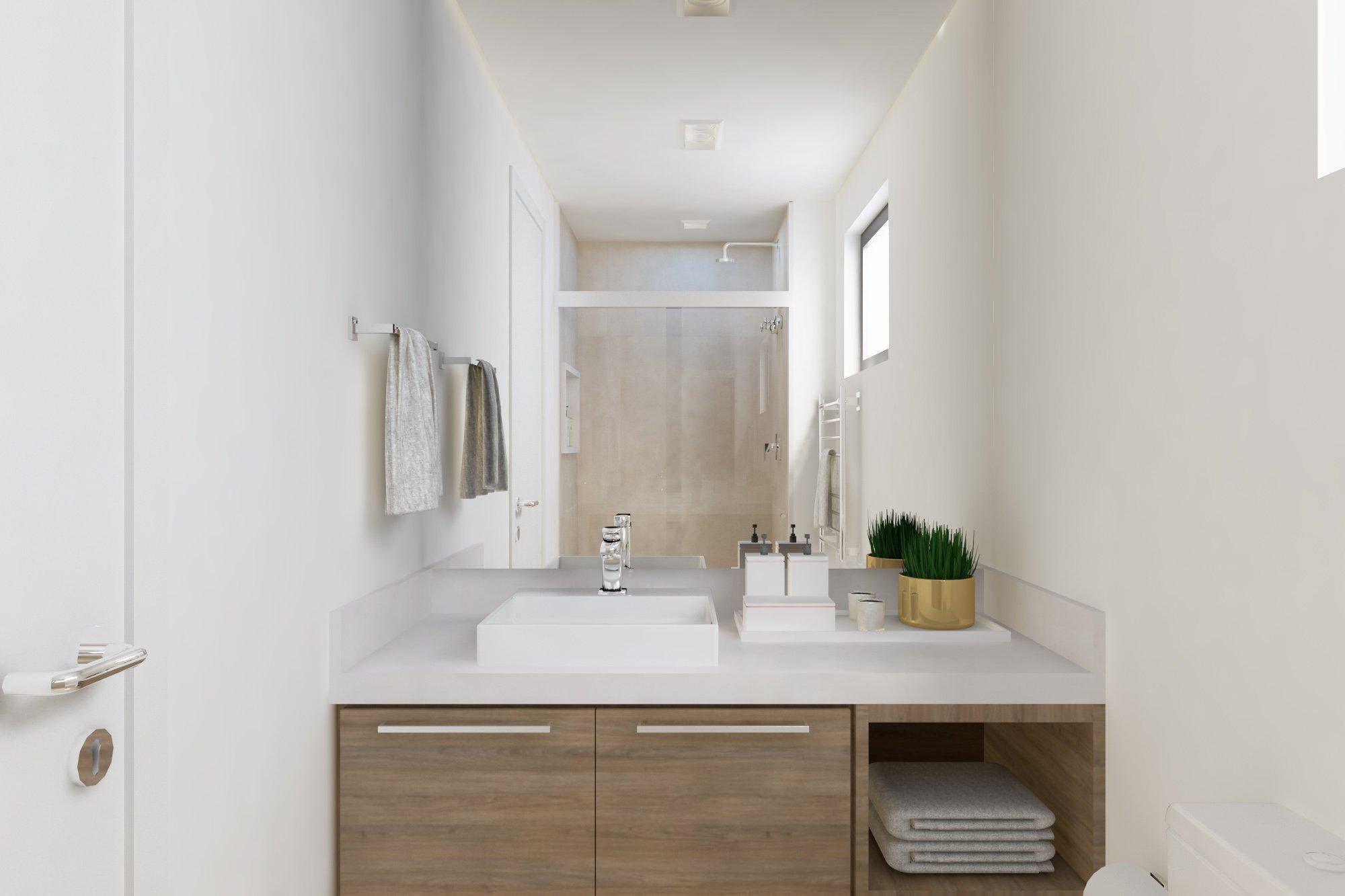 Foto de Banheiro com vaso de planta, pia, xícara