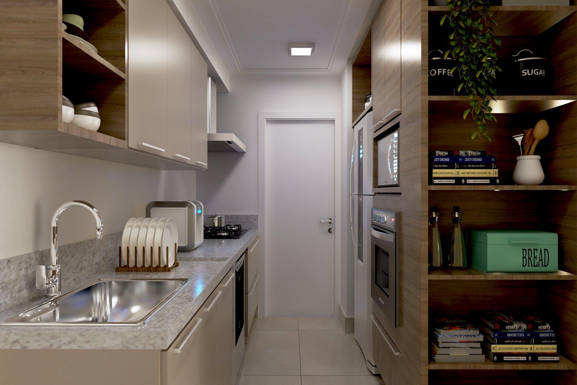 Foto de Cozinha com vaso, forno, pia, microondas