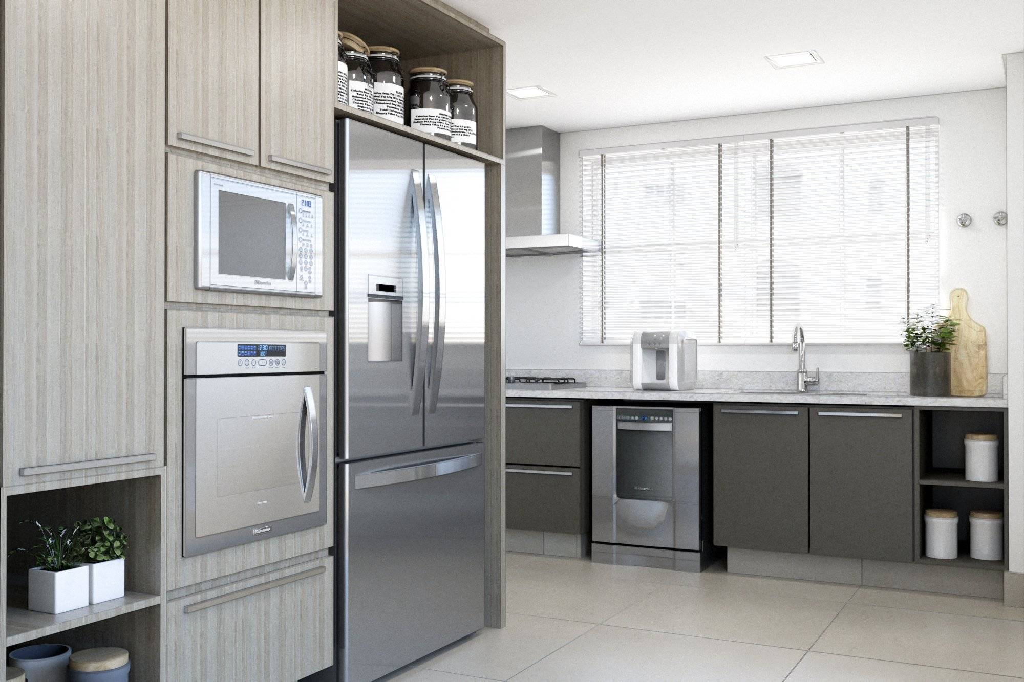 Foto de Cozinha com vaso de planta, vaso, garrafa, tigela, geladeira, microondas