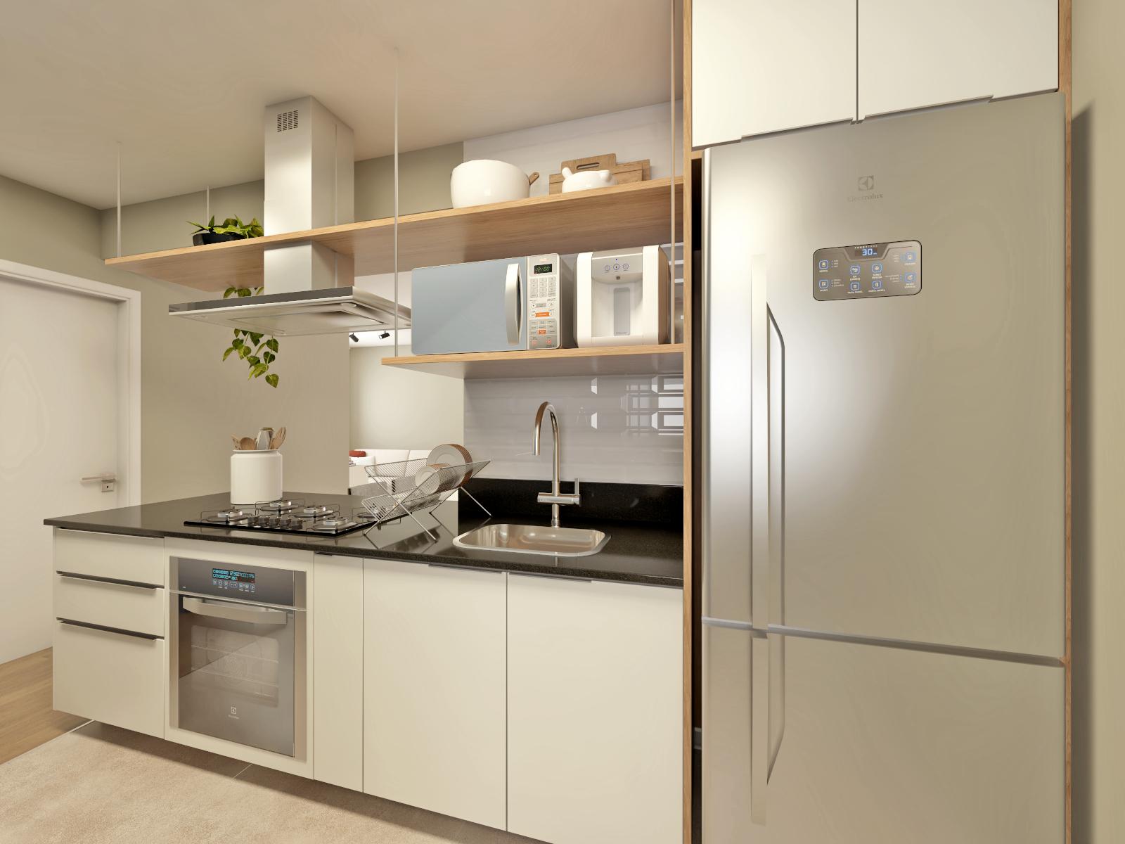 Foto de Cozinha com colher, forno, geladeira, pia, microondas, xícara