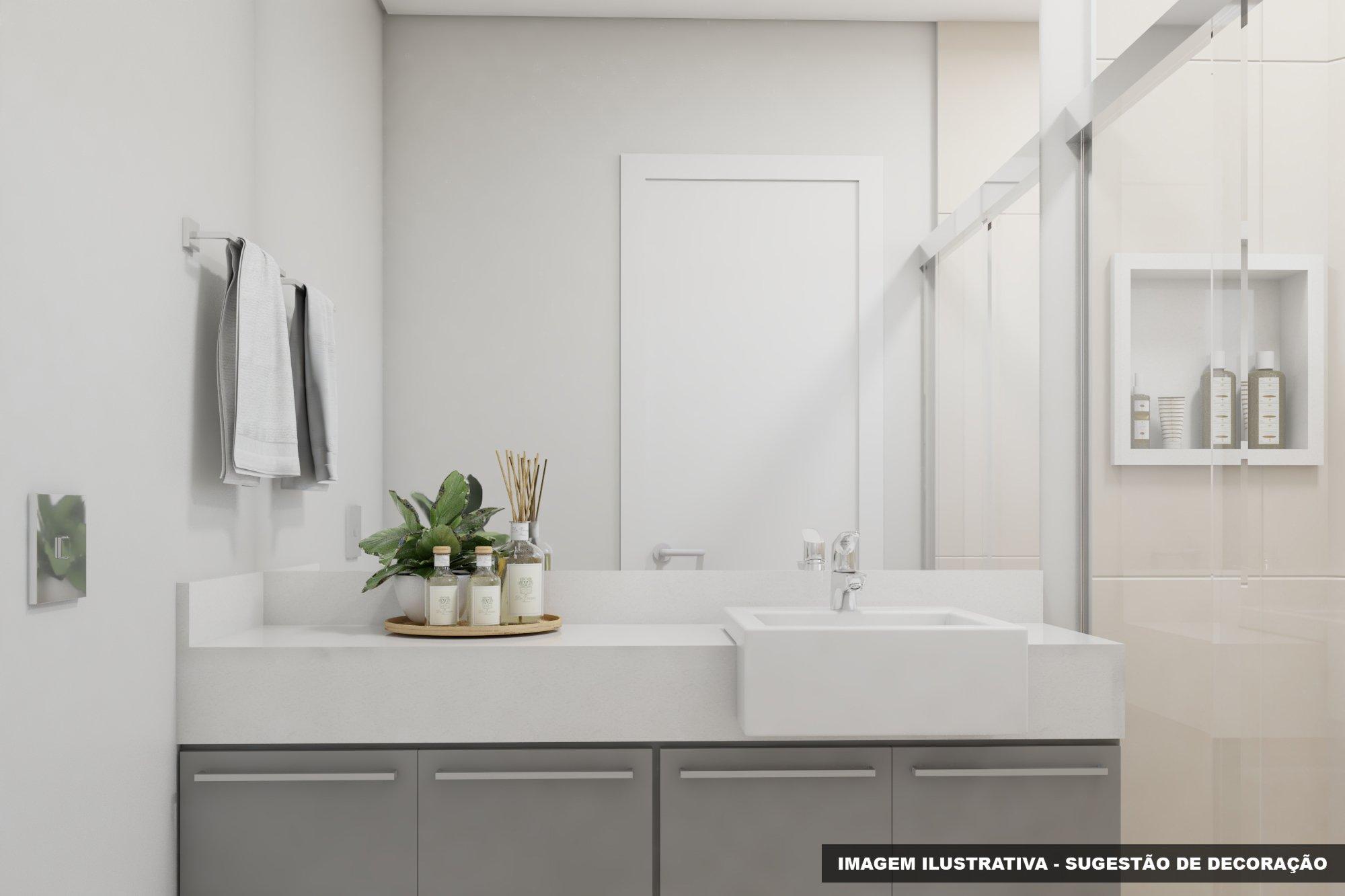 Foto de Banheiro com vaso sanitário, vaso, garrafa, pia
