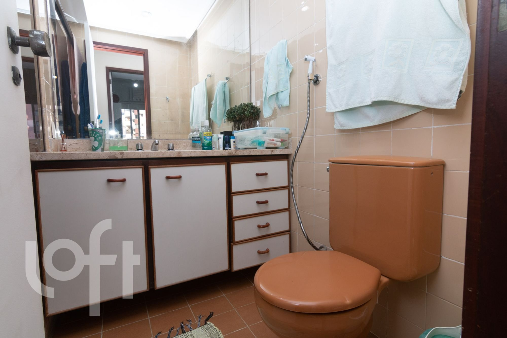 Foto de Banheiro com vaso de planta, vaso sanitário, garrafa