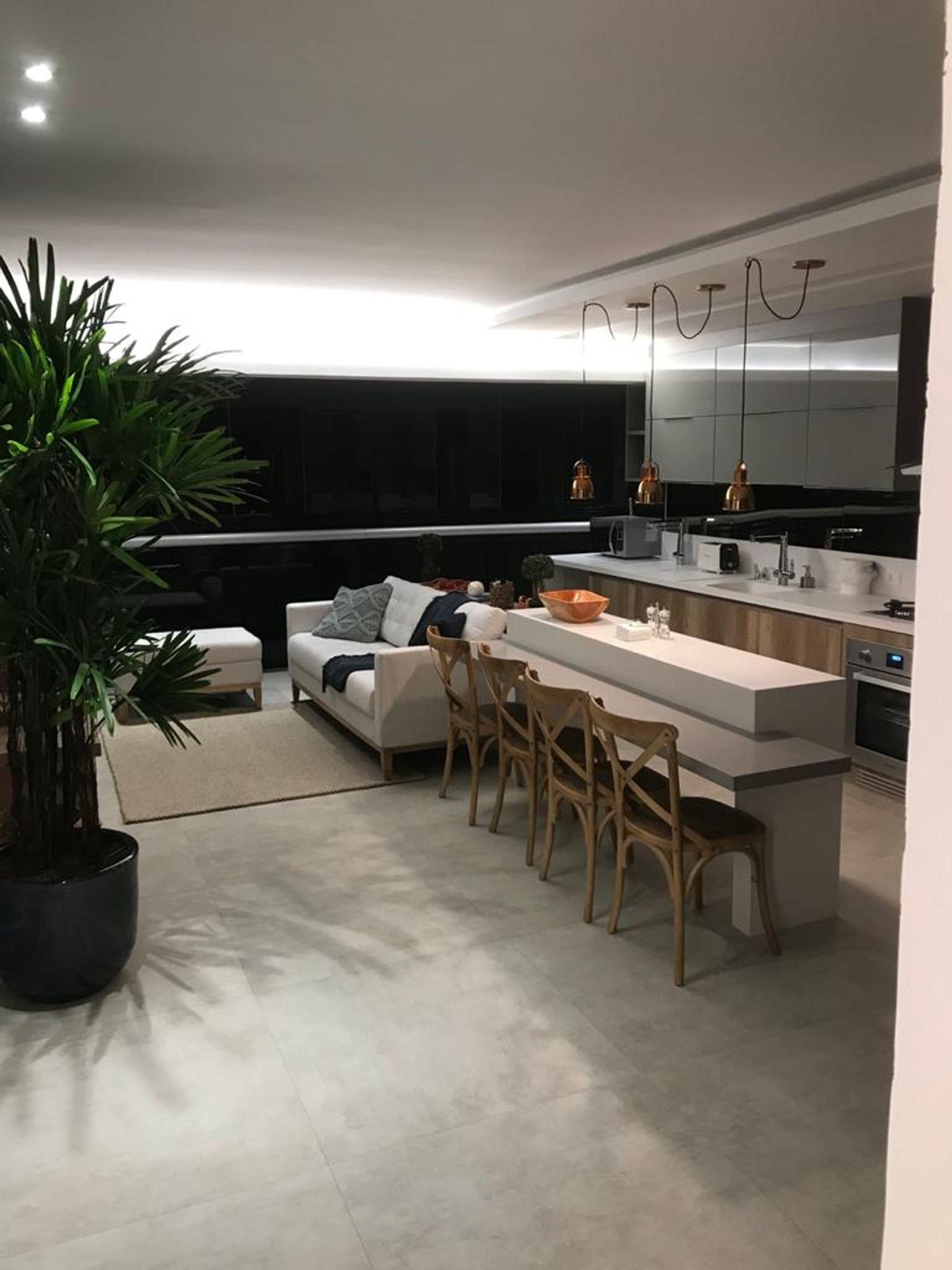 Nesta foto há vaso de planta, sofá, forno, tigela, cadeira, pessoa