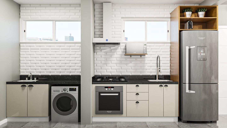 Foto de Cozinha com vaso de planta, forno, geladeira, pia