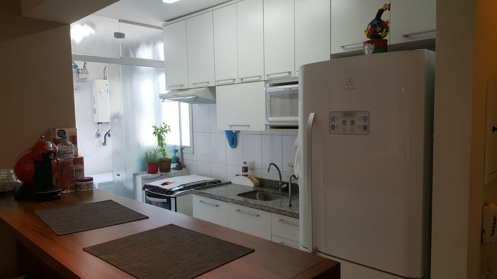 Foto de Cozinha com vaso de planta, geladeira, pia, microondas