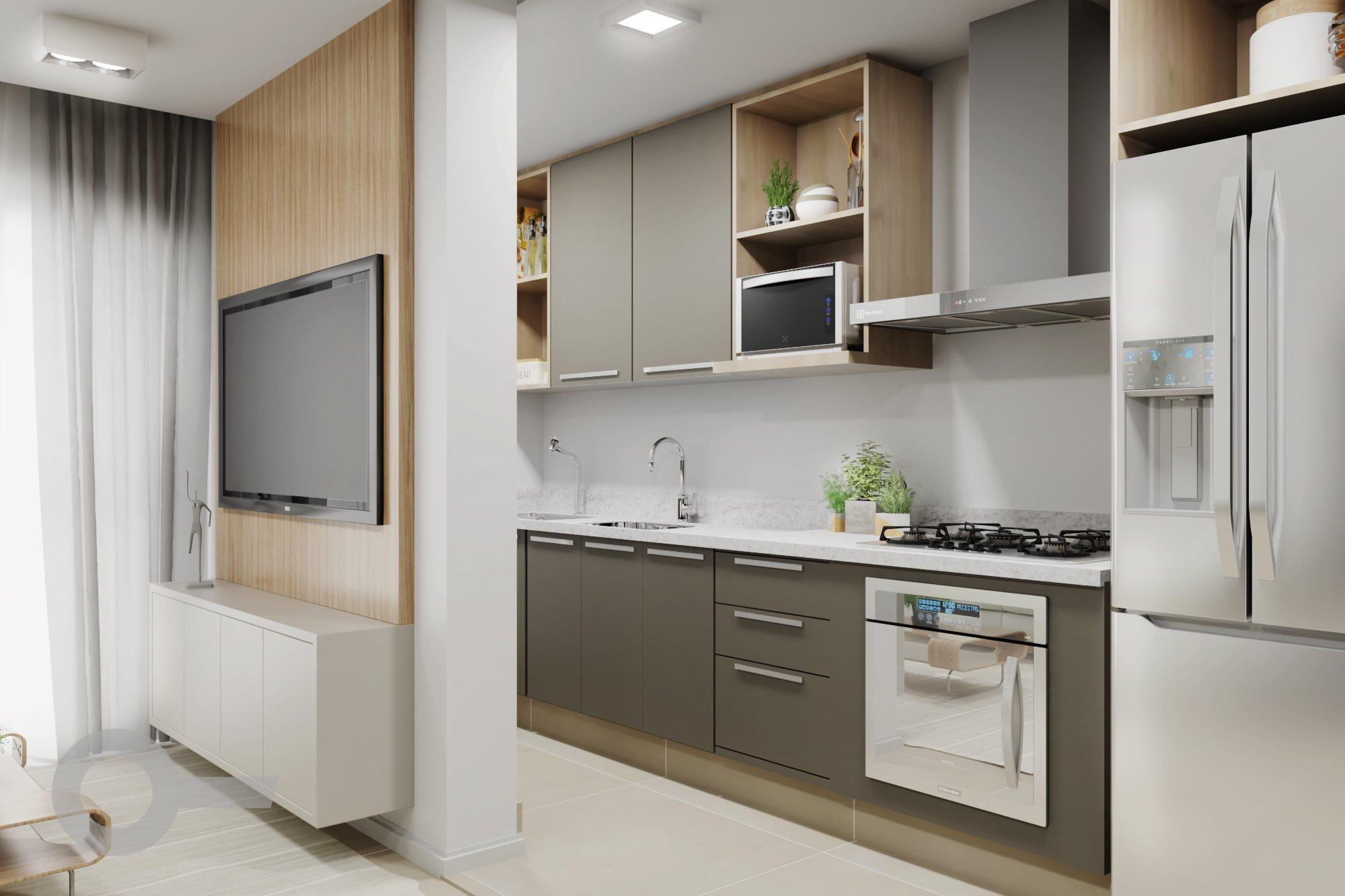 Foto de Cozinha com vaso de planta, geladeira, televisão