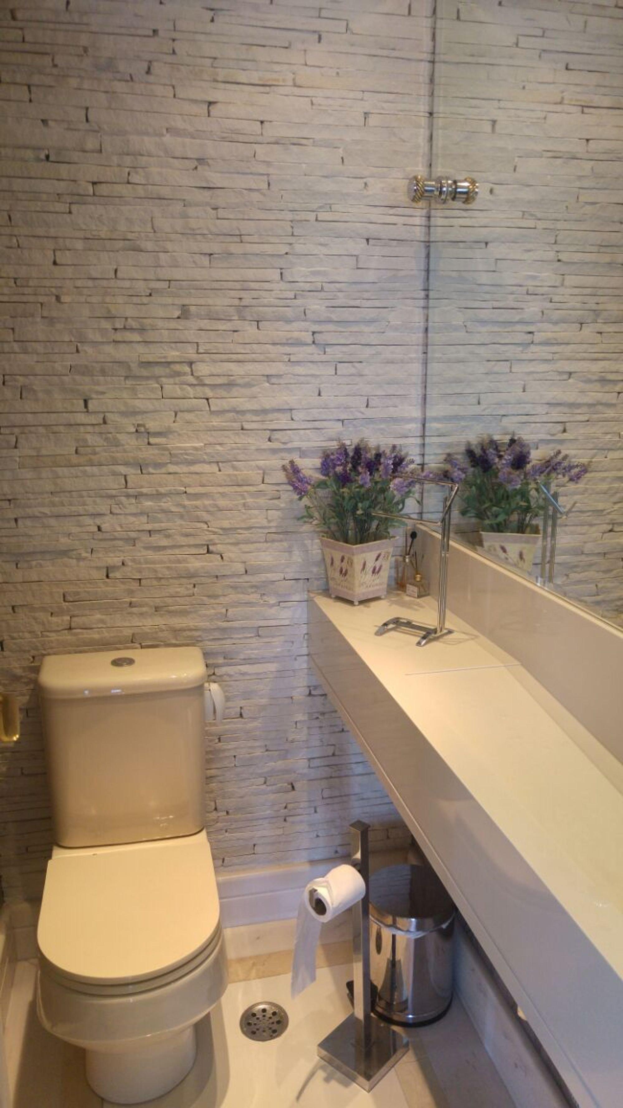 Nesta foto há vaso de planta, vaso sanitário