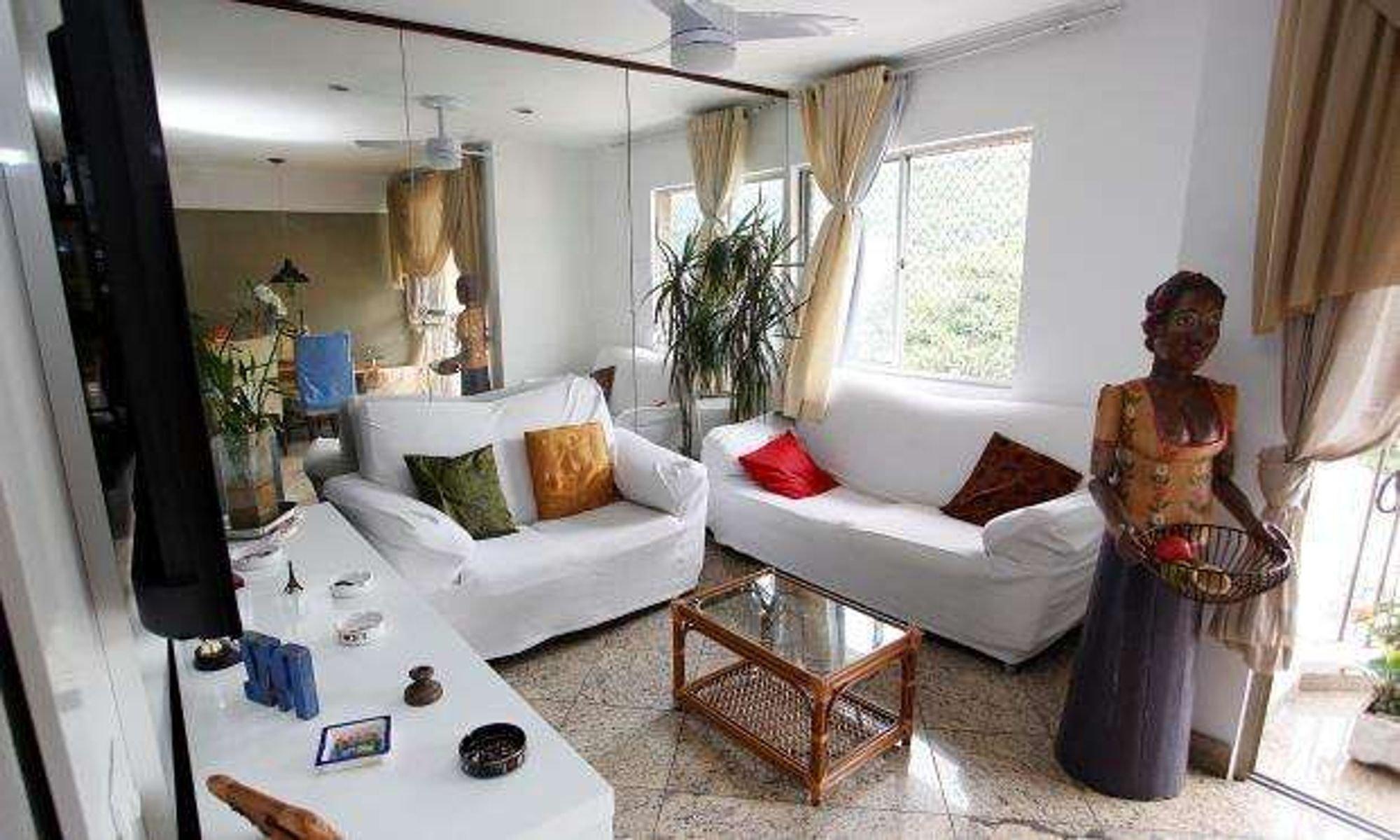 Foto de Sala com vaso de planta, sofá, pessoa