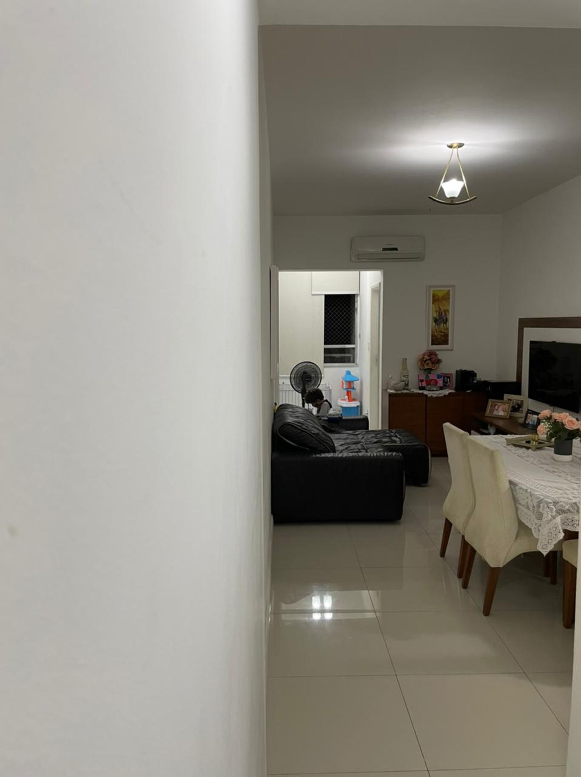 Foto de Sala com sofá, televisão, vaso, cadeira, pessoa