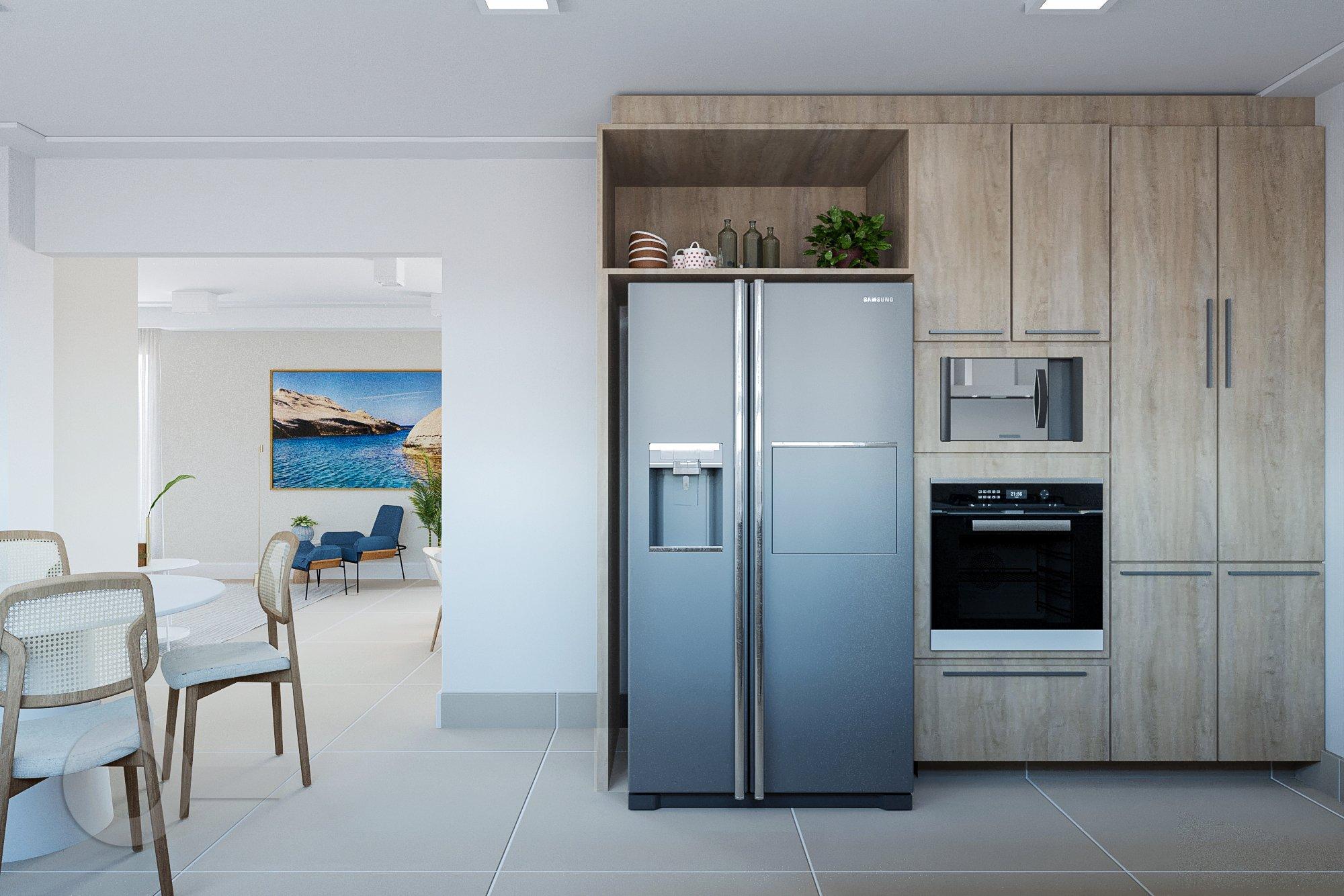 Foto de Cozinha com vaso de planta, forno, geladeira, cadeira, microondas